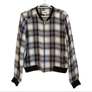 BB Dakota plaid bomber jacket zip up sweater